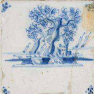 """Fliza """"Pejzaż nadmorski złodziami żaglowymi"""", ok. 1690, Utrecht, Republika Zjednoczonych Prowincji, fajans malowany kobaltem"""