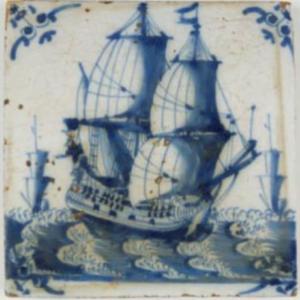 Fliza zprzedstawieniem okrętu, ok. 1690, Rotterdam, Republika Zjednoczonych Prowincji, fajans malowany kobaltem