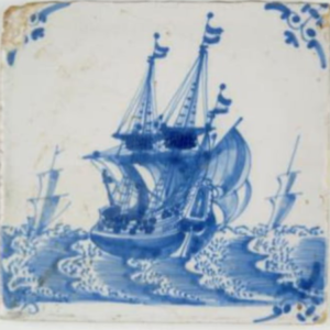 Fliza zprzedstawieniem okrętu, ok. 1700, Republika Zjednoczonych Prowincji, fajans malowany kobaltem
