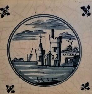 Pejzaż zbudynkami iłódką wtle - Harlingen Ip.XVIII w.