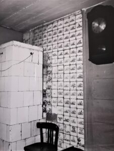 Ściana wkuchni wykładana kaflami, rok 1978.