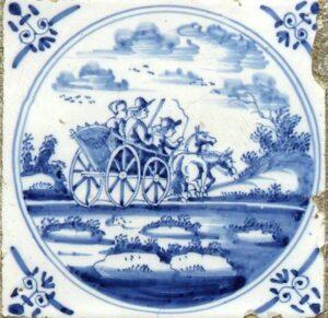 Powóz zaprzężony wdwa konie, Rotterdam ok 1700 r.