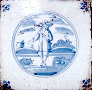 Pasterz, ornament narożnikowy typu pająk, Harlingen, Ip.XVIII w.