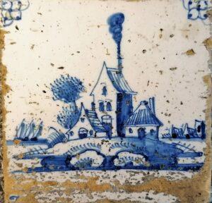 Fliza pejzażowa, ornament narożnikowy typu pająk, Amstardam Ip. XVIII w.