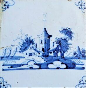 Fliza pejzażowa, ornament narożnikowy typu pająk, Amsterdam Ip. XVIII w.