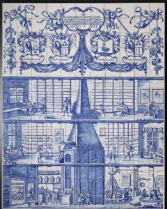 Panel przedstawiający warsztat ceramiczny zpiecem przechodzącym przezwszystkie kondygnacje.